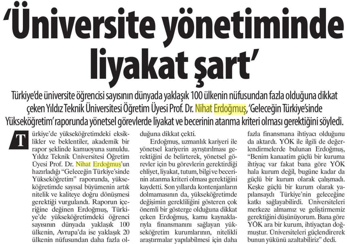 Üniversite Yönetiminde Liyakat Şart, Karar
