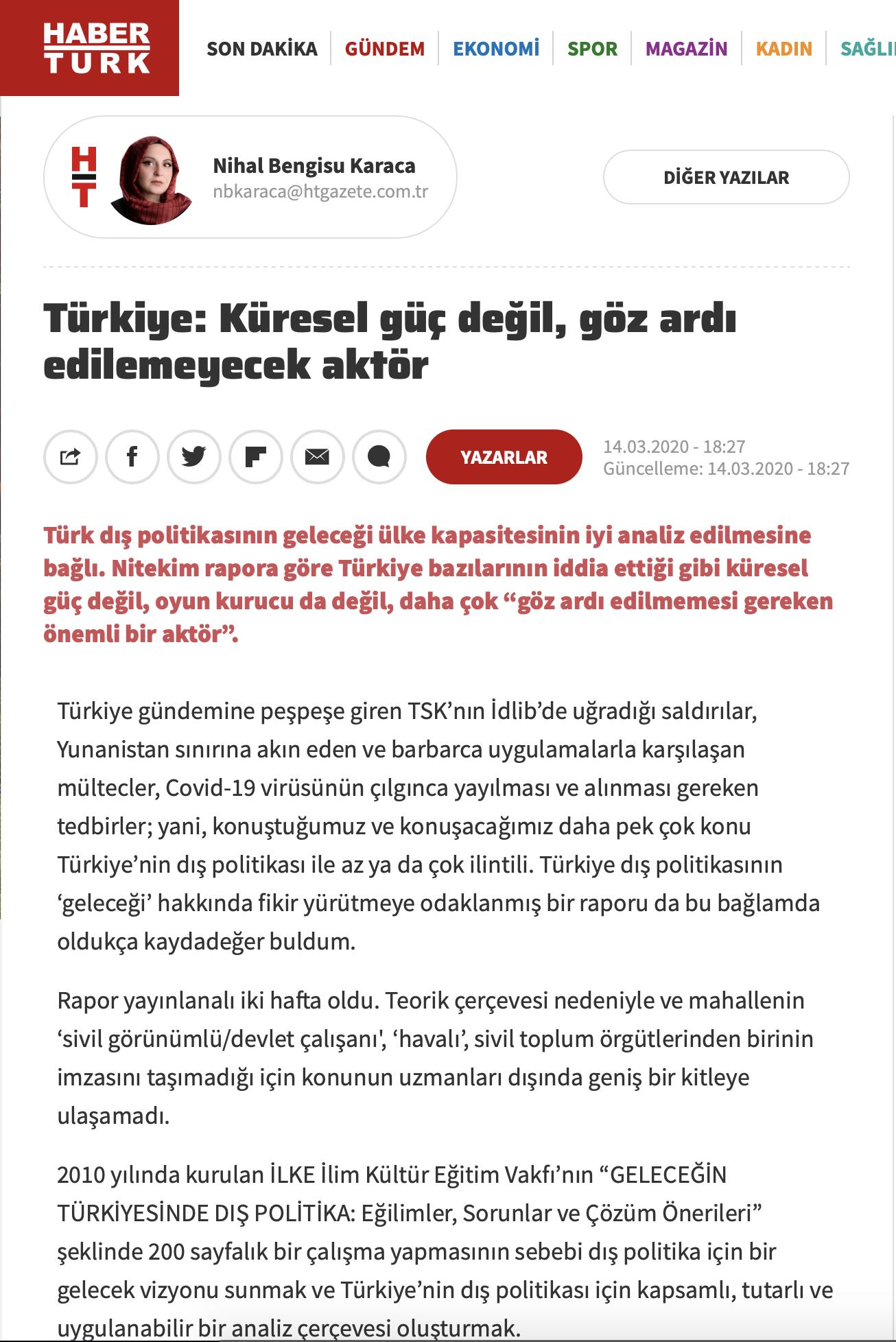 Türkiye: Küresel Güç Değil, Göz Ardı Edilemeyecek Aktör