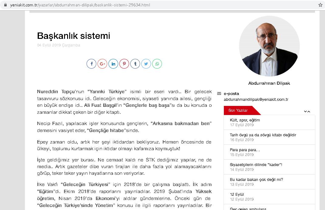 Başkanlık Sistemi, Abdurrahman Dilipak
