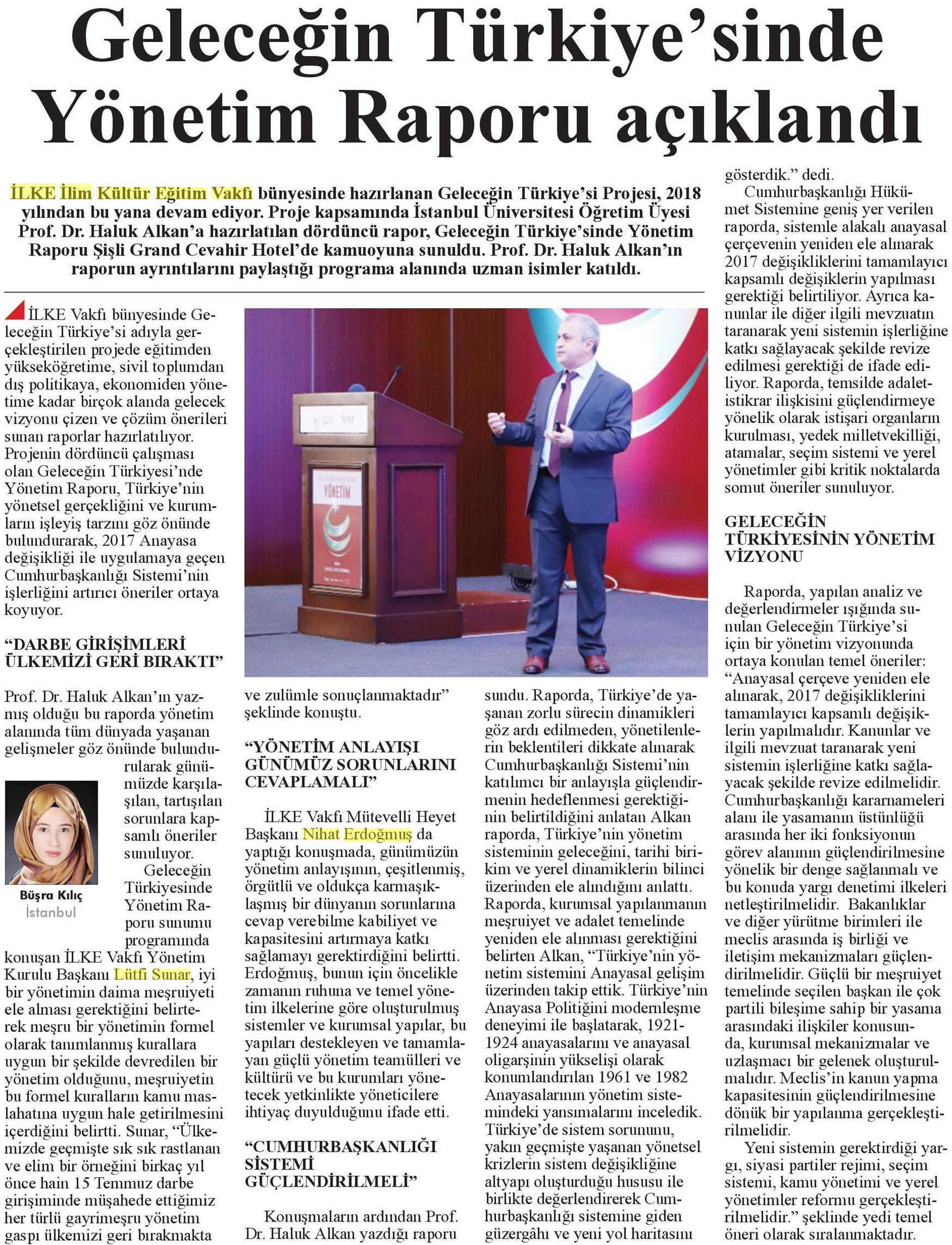 Geleceğin Türkiyesinde Yönetim Raporu, Diriliş Postası