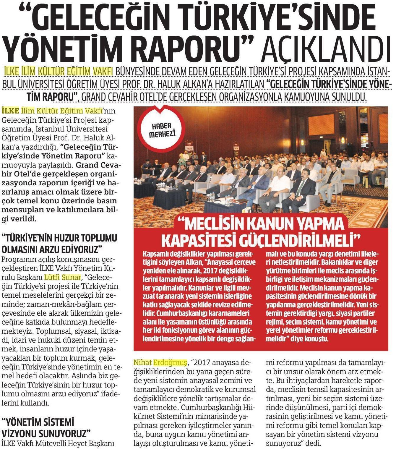 Geleceğin Türkiyesinde Yönetim Açıklandı, Milli Gazete