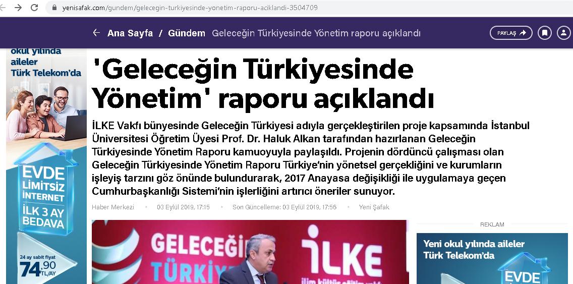 Geleceğin Türkiyesinde Yönetim raporu açıklandı, Yeni Şafak