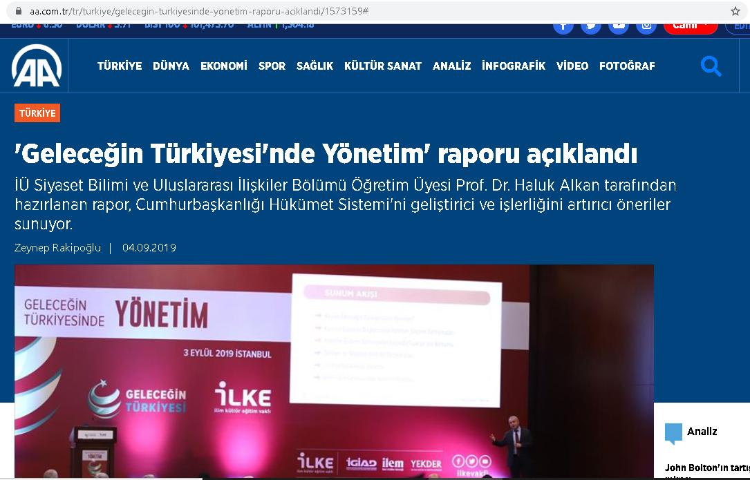 Geleceğin Türkiyesinde Yönetim raporu açıklandı, AA