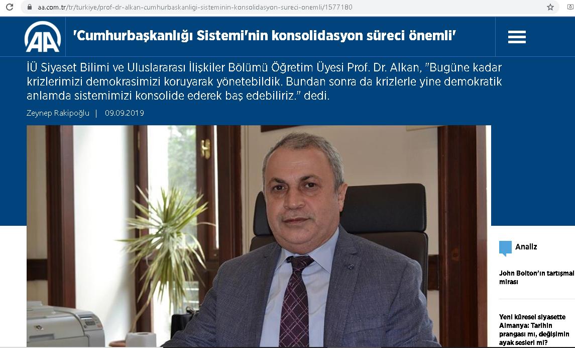 Alkan: Cumhurbaşkanlığı Sistemi'nin konsolidasyon süreci önemli, AA